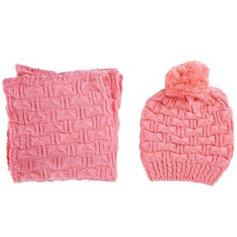 Cyber musim dingin wanita syal rajutan dan topi kupluk rajut Set pengental ( hitam) .