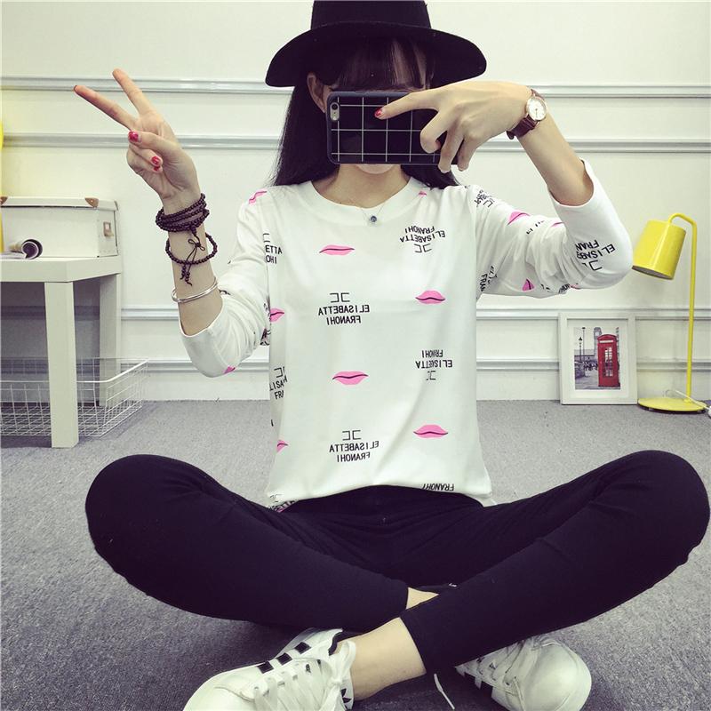 ... Daiouli Kaos Wanita Model Longgar Motif Cetak Lengan Panjang 994 Bibir