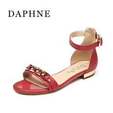 Daphne musim semi dan musim panas baru flat shoes kata gesper wanita sandal (Plum merah