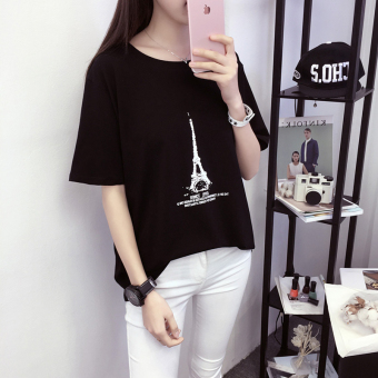 Days tide Korean-style summer LOOESN short sleeved t-shirt (661 (hitam))