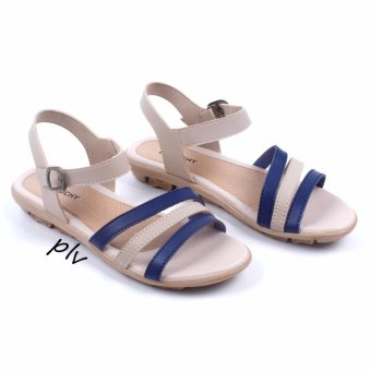 Debuchy Sepatu Sandal Wanita Flat Tali AD07 - Navy