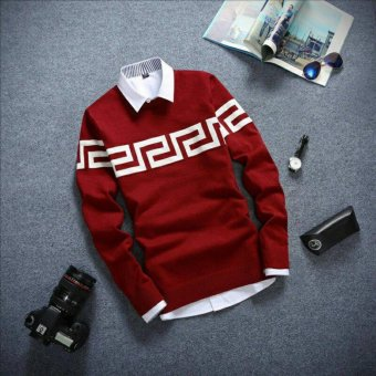 DEcTionS Sweater Rajut Pria Labirin Smooth Maroon