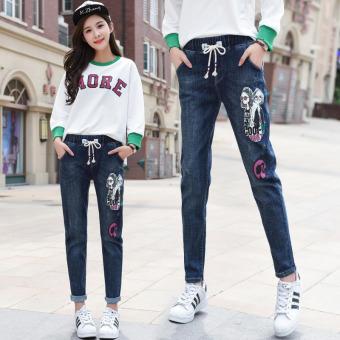 Hot Deals Denim musim gugur siswa SMA longgar celana harem (Biru) Online murah