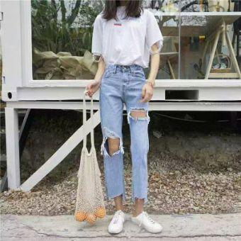 Belanja murah Denim musim panas tidak teratur celana lurus celana (Cahaya biru) (Cahaya