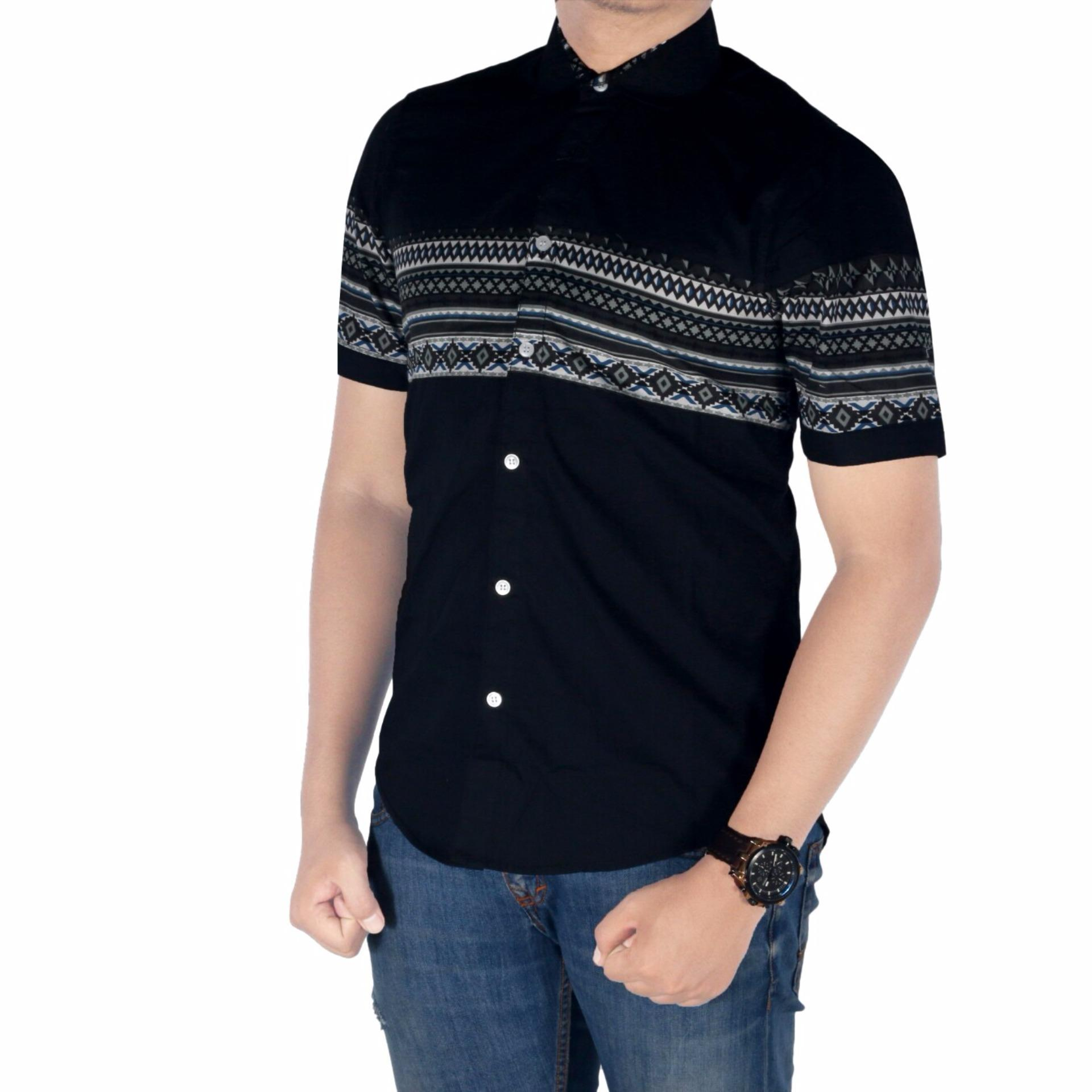 Batik Kemeja Pria Lengan Pendek Hitam Daftar Harga Terkini Dan Kombinasi Katun Putih Sht 791 Dgm Fashion1 Tribal Panjang Flanel