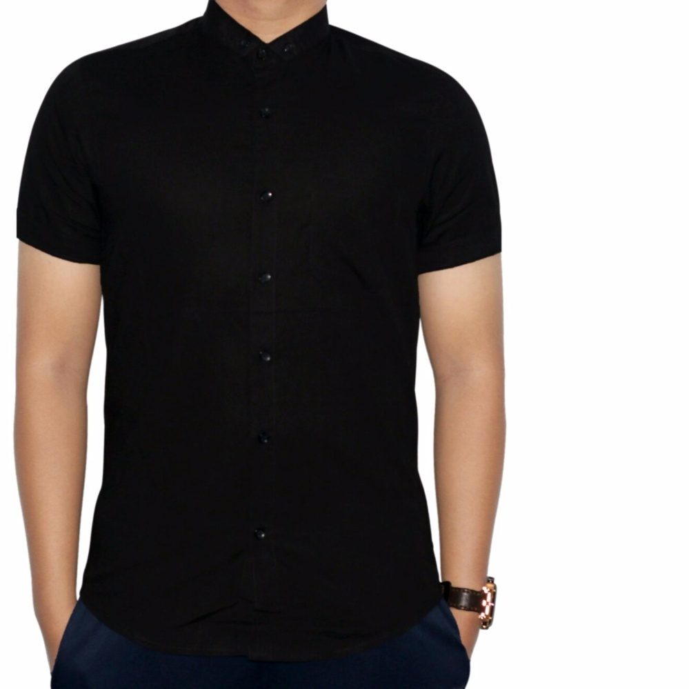 Batik Kemeja Pria Lengan Pendek Hitam Daftar Harga Terkini Dan Kombinasi Katun Putih Sht 791 Dgm Fashion1 Polos