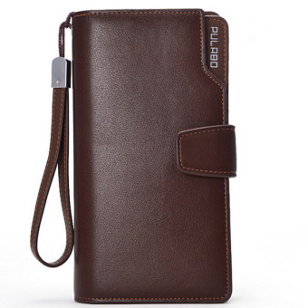 Dompet Pria Business Men PU Leather Clutch Wallet Handbag Long Purse Zipper Credit Cards Mobile Phone Holder COFFEE