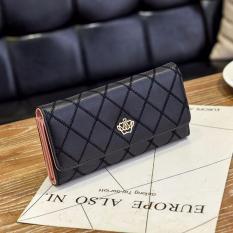 Dompet Wanita Model Fashion Korean Import Bag Purse Leather Crown Logo Motif - Hitam