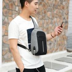Dream Shop Tas Selempang Chest Bag Crossbody Anti Theft USB Waterproof Tas Anti Maling-abu''
