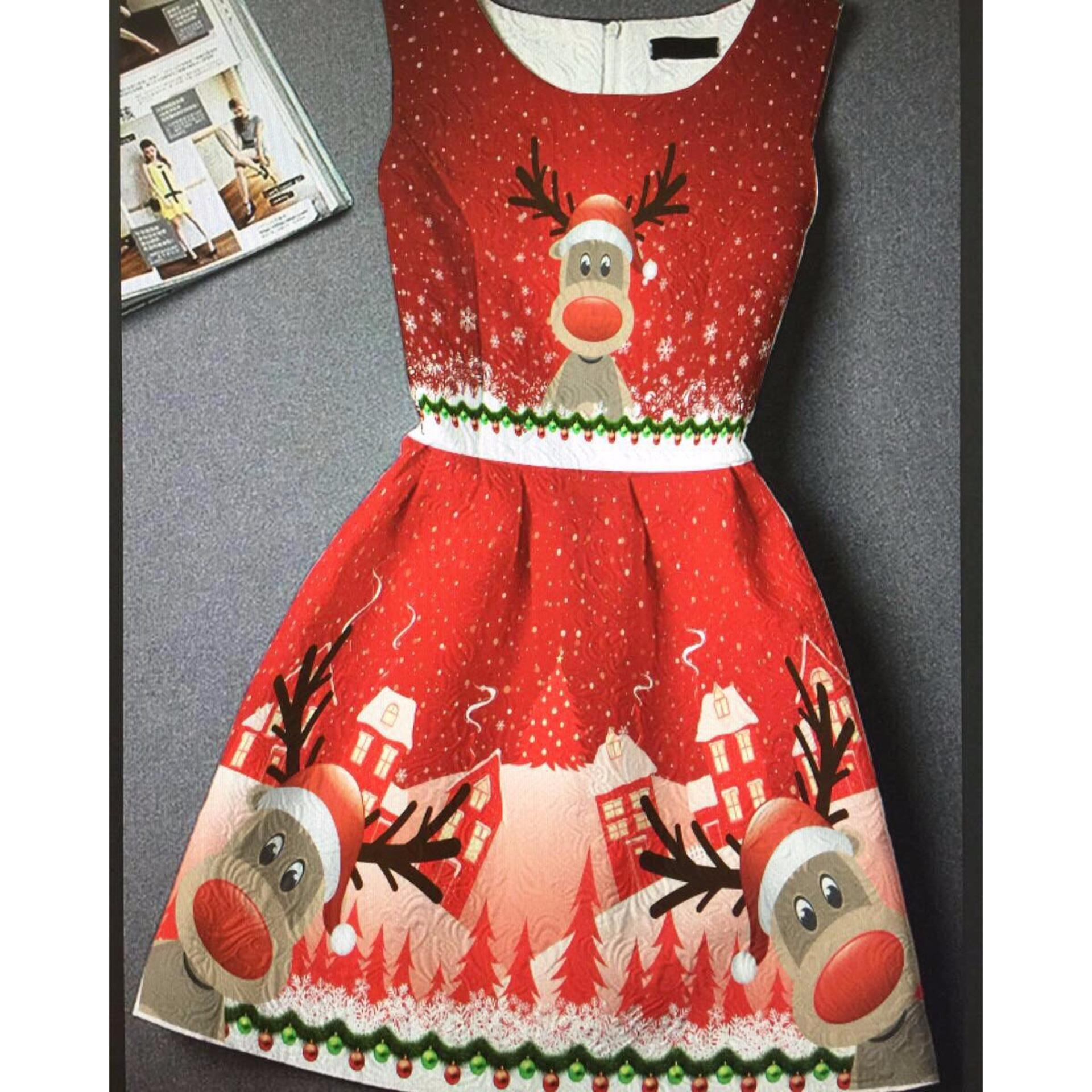 Dress Anak IMPORT Deer umur 2- 10 tahun / Baju Anak / Dress Import / Dress Natal