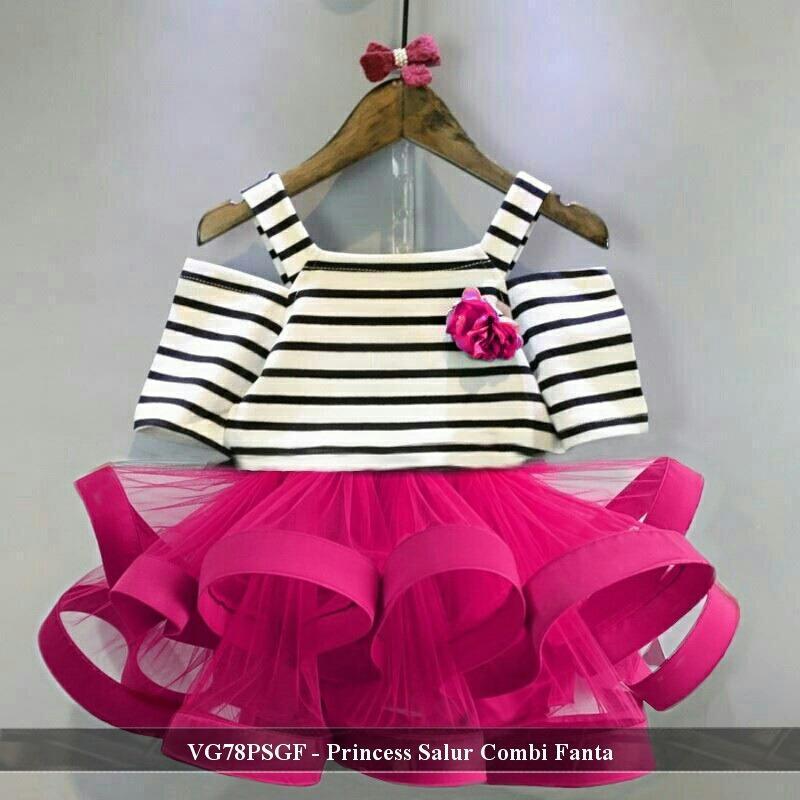 Dress Anak Murah - Grosir Baju Anak - VG78PSGF - princess Salur Combi Fanta   fit 3-5 tahun