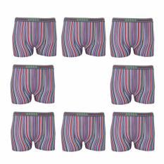 EELIC CDP-2267-4 PINK 8 PCS Celana Dalam Boxer Pria Stripe Maskulin Dan Sexy