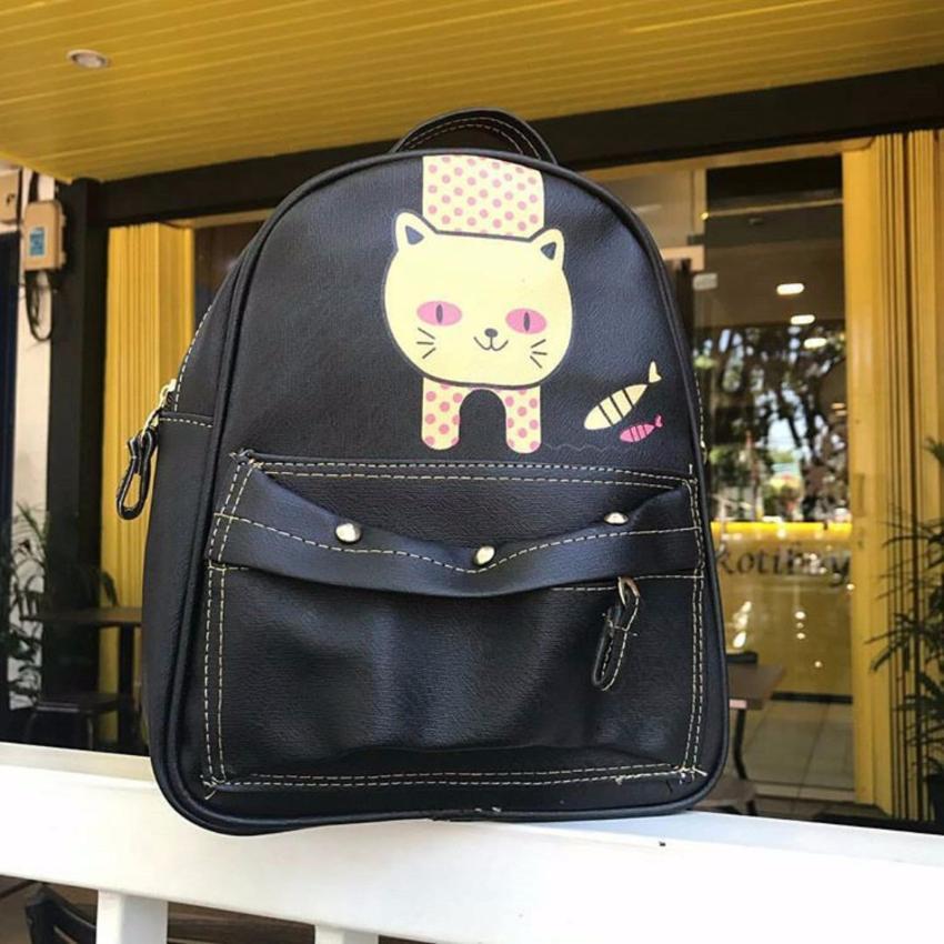 El Piaza Mini Ransel Kulit Meow Black Ransel Mini Ransel Lucu Tas Ransel Sling Bag Tas