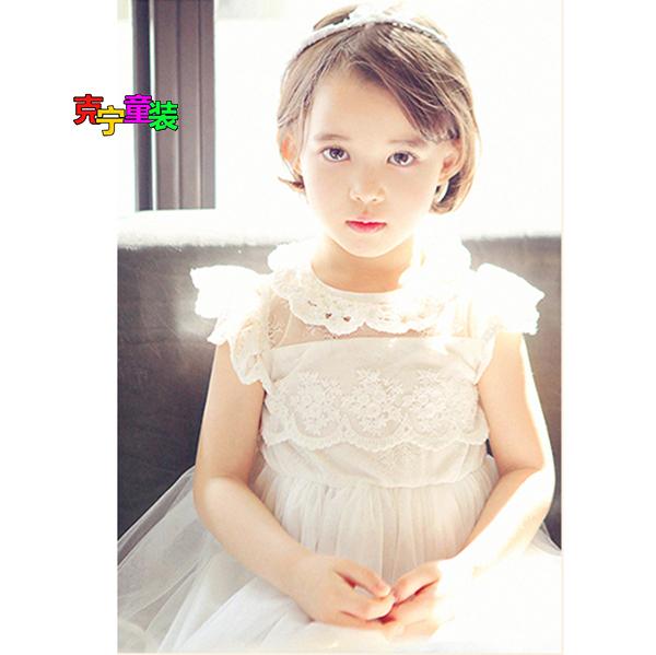 Elegan Korea Fashion Style lengan pendek renda kerah gadis gaun putri tutu (Renda kerah putih