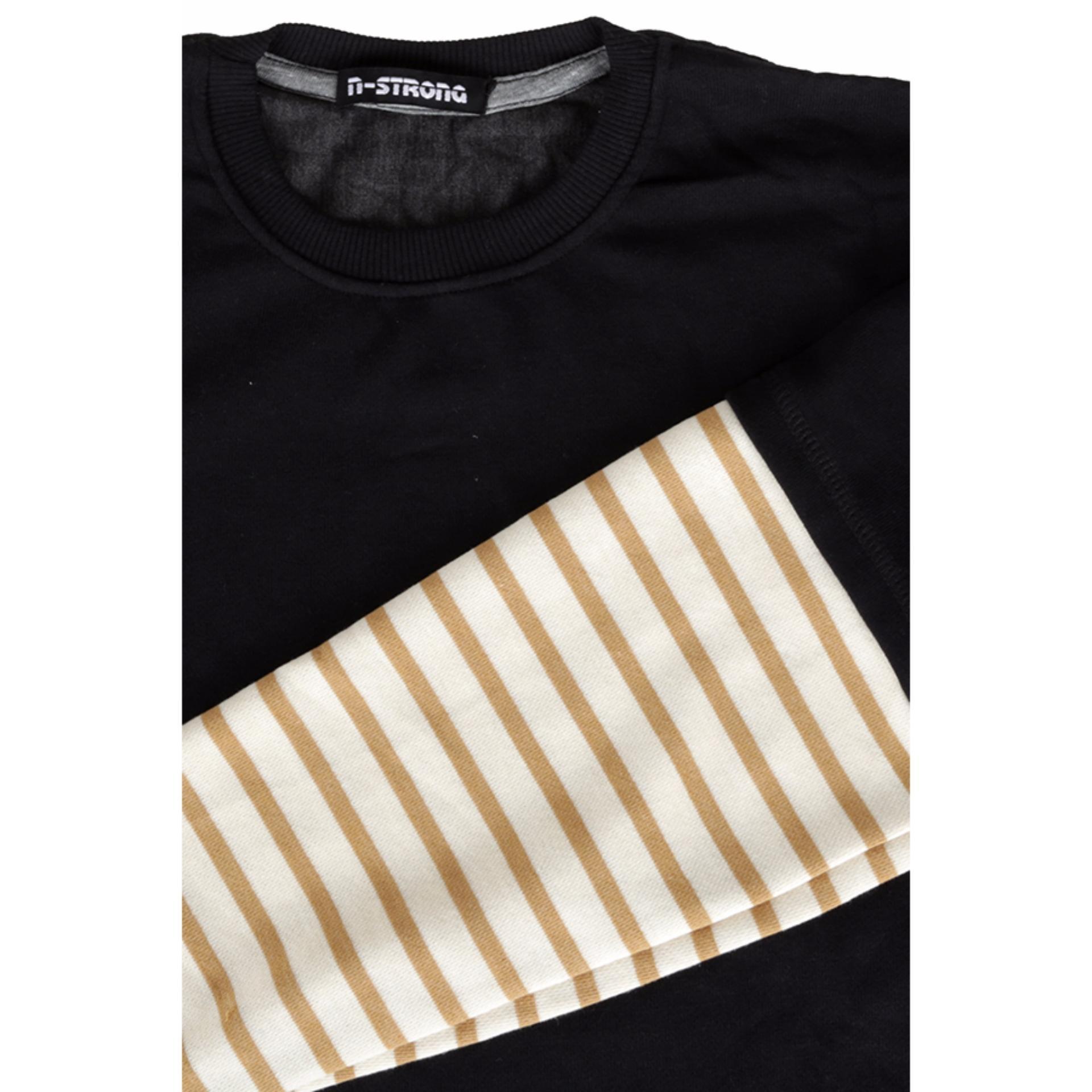 Elfs Shop - Kaos Lengan Panjang Pria T-Shirt Terry Lengan Salur-Hitam .
