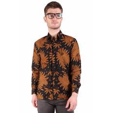 Elfs Shop - Kemeja Batik Formal Pria Lengan Panjang Katun 0S1701 - Coklat Tua
