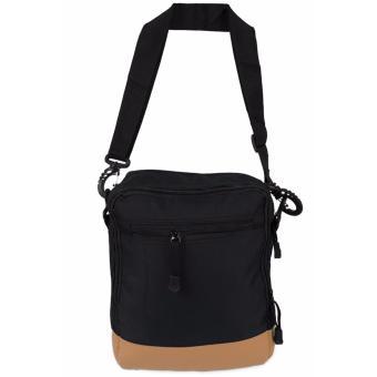 Elfs Shop - Tas Selempang Pria Men's Sling Crossbody Shoulder Bag Canvas Leather Kulit-Hitam - 2