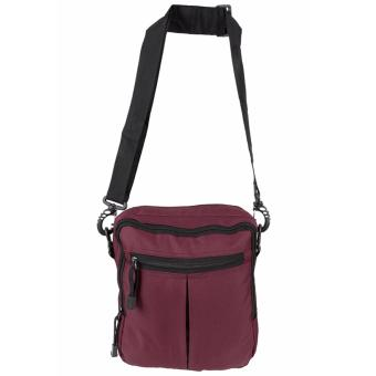 Elfs Shop - Tas Selempang Pria Men's Sling Crossbody Shoulder Bag Canvas Simple-Maroon - 2