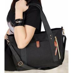 Eloria Promo Tas Wanita Traveling Casual Selempang Fashion Shopping Tote Bag Korean Import - Black / Hitam