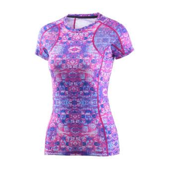 Energi perempuan berjalan kebugaran pakaian Slim cepat kering pakaian pakaian yoga (Ungu)