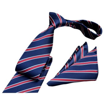 EOZY Men's Formal Commercial Gentleman Tie and Pocket Towel SetPolyester Silk Neckties Business Vintage Wedding Ties (Blue) - 2