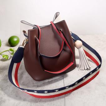 Eropa Dan Amerika Baru Kapasitas Besar Tas Bahu Dengan Satu Tali Tas Jinjing Tas Besar (Warna Campuran Coklat Off-White)