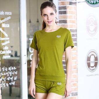 Jual Eslite kasual siswa perempuan wanita celana pendek musim panas lengan pendek t-shirt (Hijau muda) Murah