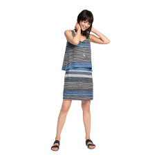 Esprit Layered-Effect Stretch Jersey Dress - Navy