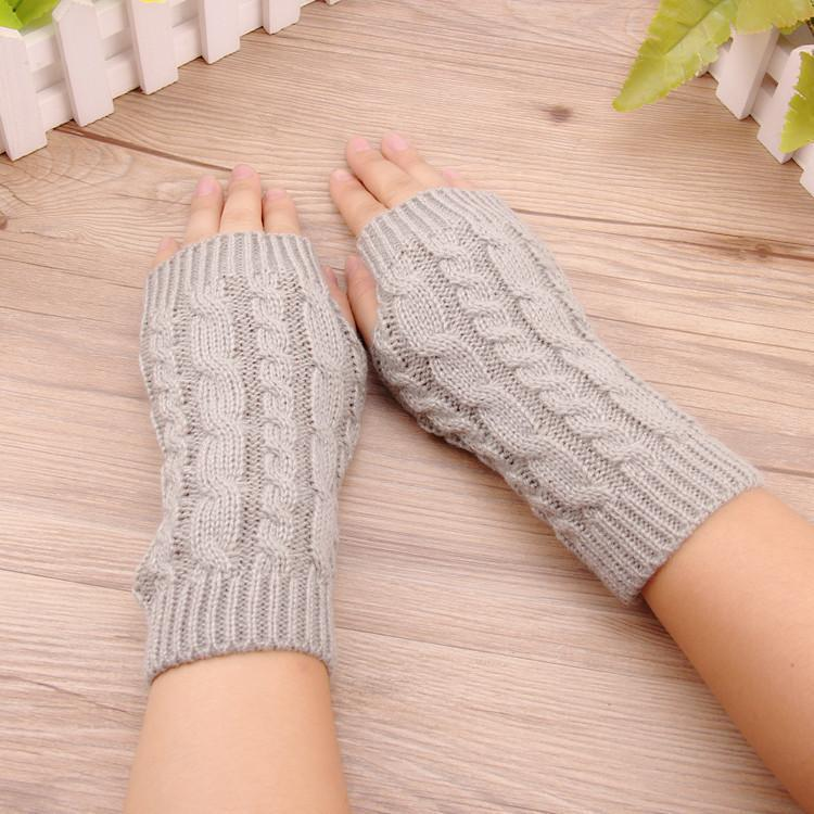 Fahion lengan pendek lengan manset sarung tangan wol Rajutan - hitam - International .