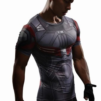 Falcon T-Shirt Captain America Compression Shirt 3D Printed T-shirts Men Avengers Short Sleeve Drying Quick Fitness Cloth Male Tops - intl
