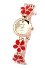 Fashion Aster Bunga Mawar Emas Gelang Jam Tangan Wanita Gadis Merah