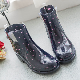 Gambar Fashion Martin boots hujan wanita her gum tahan terhadap udaraRainshoes Rian (dot hitam with