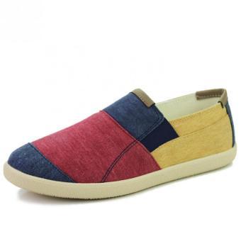 Fashion Men Leisure Pencocokan Warna Kanvas Pantofel (MERAH) Distro DS 443 Sepatu Formal Pantofel Pria Untuk Kerja dan Kantor Kulit Sintetis - Hitam ...