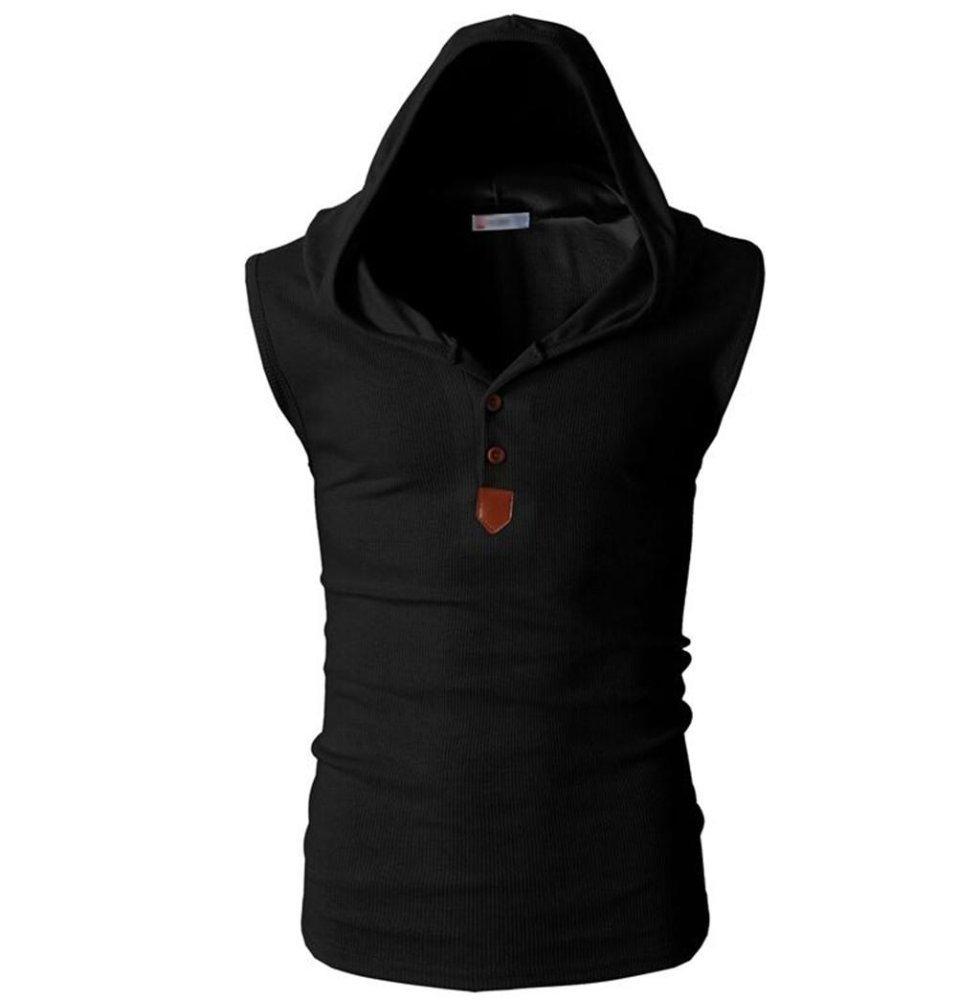 ... Fashion Men's Summer Professional Gym Sleeveless Hooded Vest Hoodies Black - intl ...