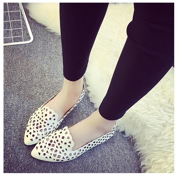 ... Fashion Women Flats Hollow Out Pumps Casual Breathable Loafers Boat Single Shoes white - intl ...