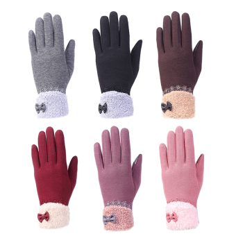 Fashion Women Outdoor Winter Warm Click Touch Screen Gloves(Purple) - intl - 3