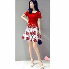 fashionshop dress Flower Maroon / Dress Lengan Pendek / Gaun Baju Terusan Wanita / Dress Korea / Dress Brukat / Dress Midi