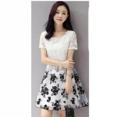 fashionshop dress Flower Putih / Dress Korea / Dress Renda / Dress Brukat / Dress Midi