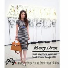 Fashionshop Dress Mossy Hitam / Dress Pesta / Dress Korea / Dress Wanita / Rok Wanita / Dress Bodycon / Dress Midi / Dress Kasual / Gaun Pesta