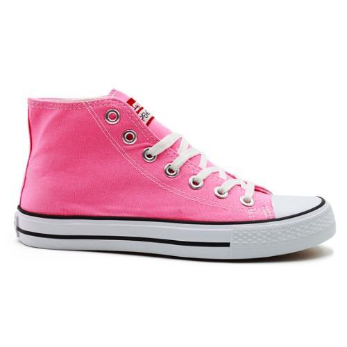 Faster Sepatu Sneakers Kanvas Wanita 1603-04 - Merah Muda/Putih .