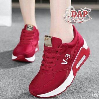 Gambar Femine Sepatu Wanita Sneaker Kets Sport V3 Merah
