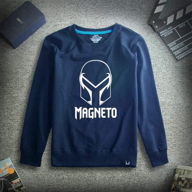 Film Wolverine pria musim gugur remaja pullover kemeja sweater (Biru tua Magneto)