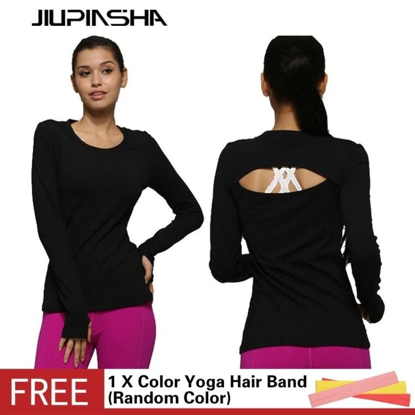 ... Fitness Gym Running Quick Dry Sports Shirt Women Long Sleeve Yoga Tshirts Hollow Out Back Top ...