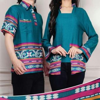 Flavia Store Batik Couple FS0248 - TOSCA / Baju Pasangan / Sepasang Busana / Kemeja Pria