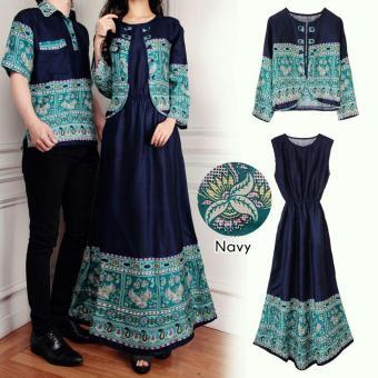 Flavia Store Batik Couple FS0597 - NAVY / Baju Muslim Pasangan / Sepasang Busana / Kemeja