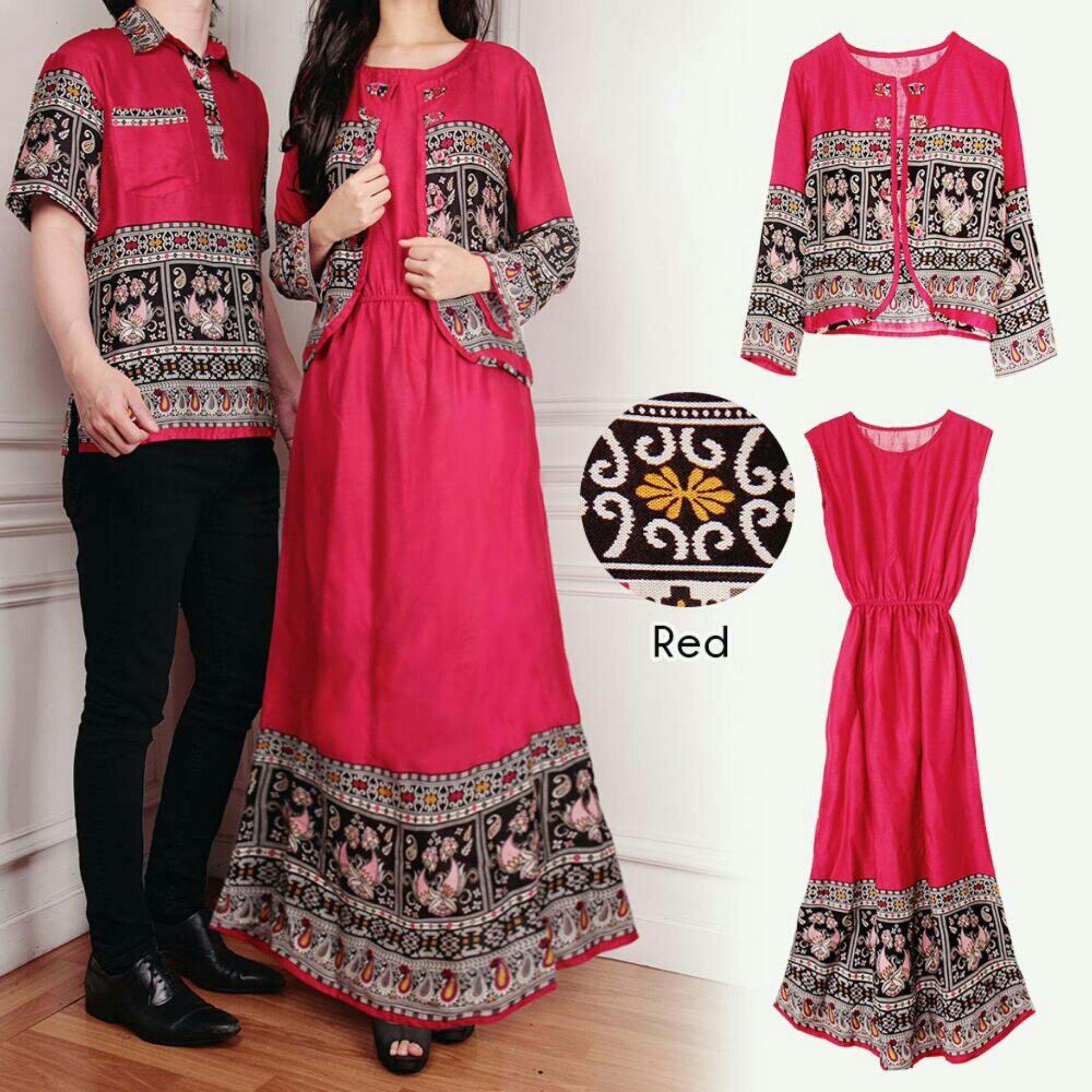 Flash Sale Flavia Store Batik Couple FS0598 - MERAH / Baju Muslim Pasangan / Sepasang Busana