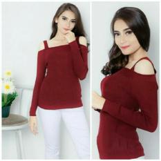 Flavia Store Blouse Lengan Panjang Sabrina Tali Rajut FS0178 - MAROON / Baju Kaos T-