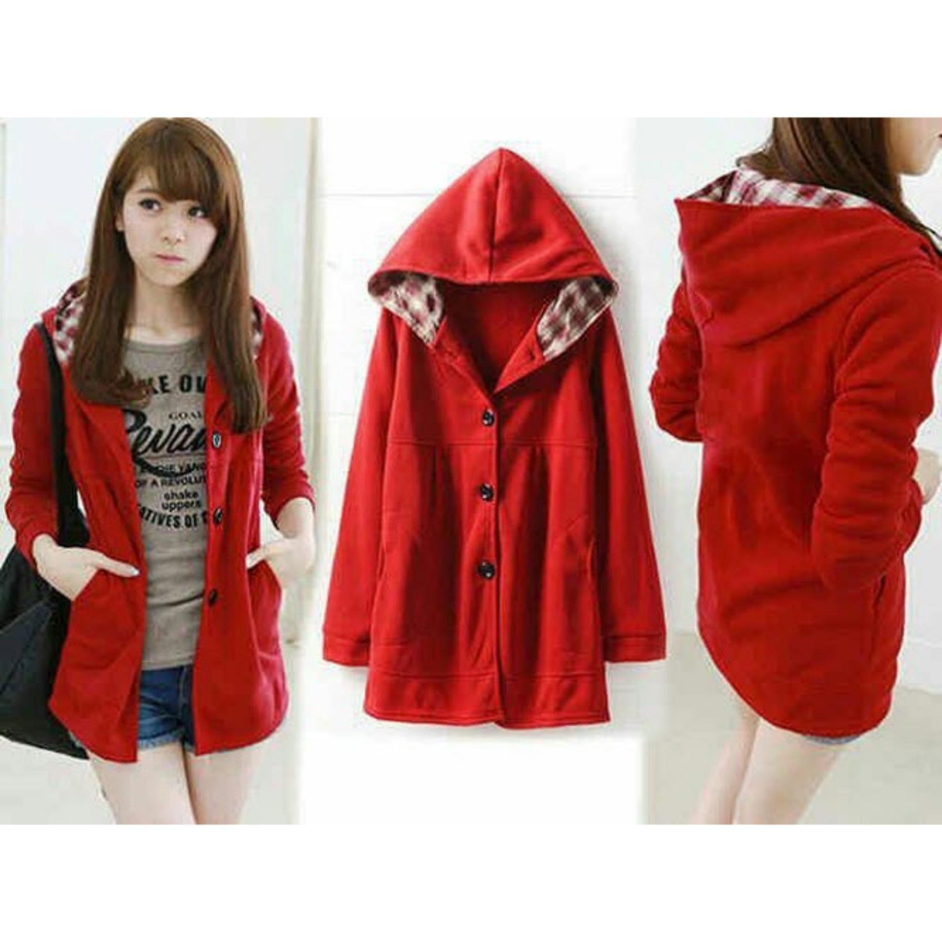 Flash Sale Flavia Store Jaket Hoodie Wanita FS0412 - MERAH / Sweater / Rnmelda