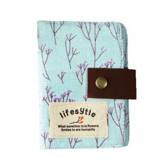 Floral Canvas Cover 20 Slot Credit ID Card Bag Wallet Purse PouchCards Holder Light Blue