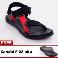 Footage Sandal Pria F- 01 Hitam-Merah Free F-02 Abu